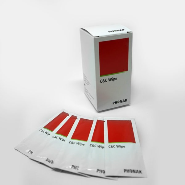 Red Phonak C&C wipes laid out on white background